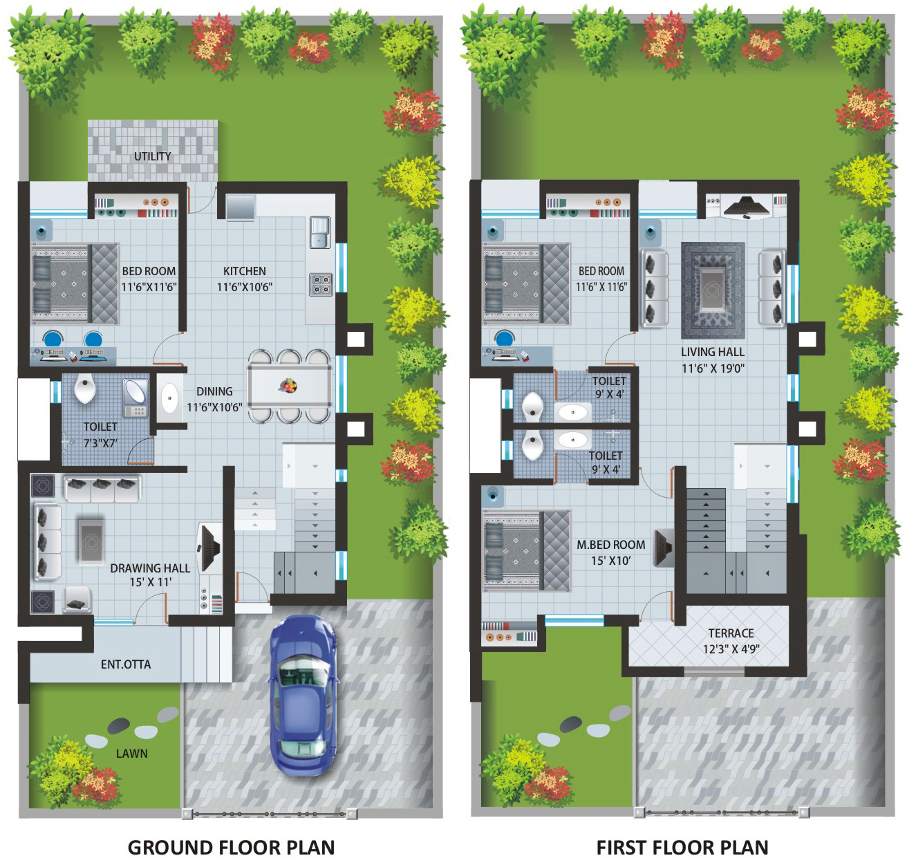 TWIN BUNGALOW : PLAN